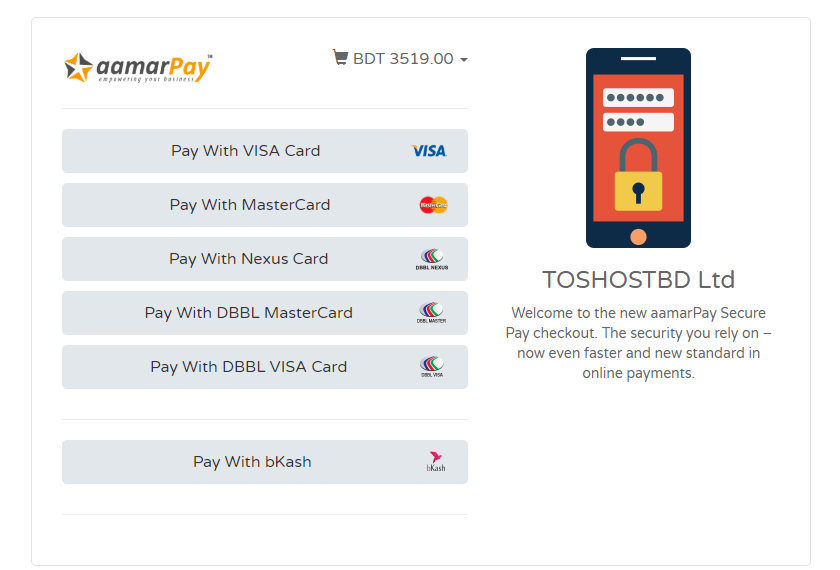 Aamar Pay TosHost Secure Gateway