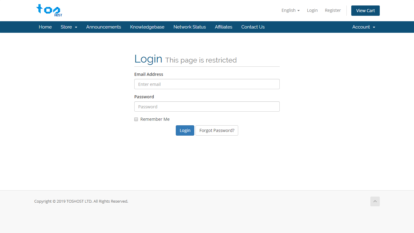 Client Area Login Page TosHost