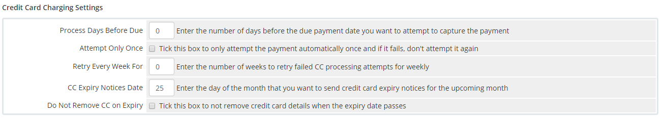 Credit Card Settings WHMCS