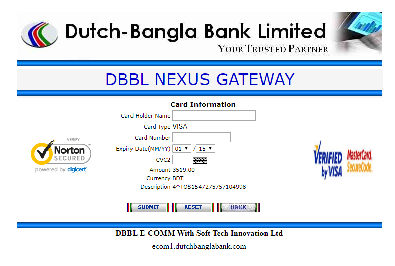 DBBL Payment Gateway TosHost