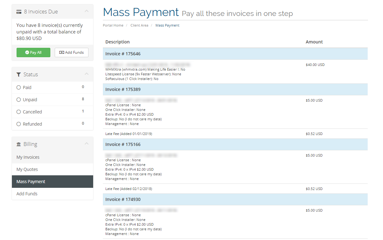 Mass Payment Section TosHost
