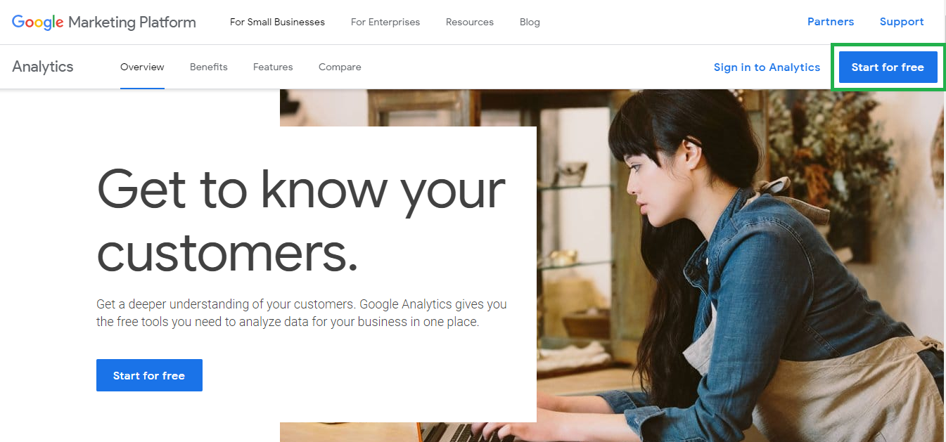 Analytics Welcome Screen