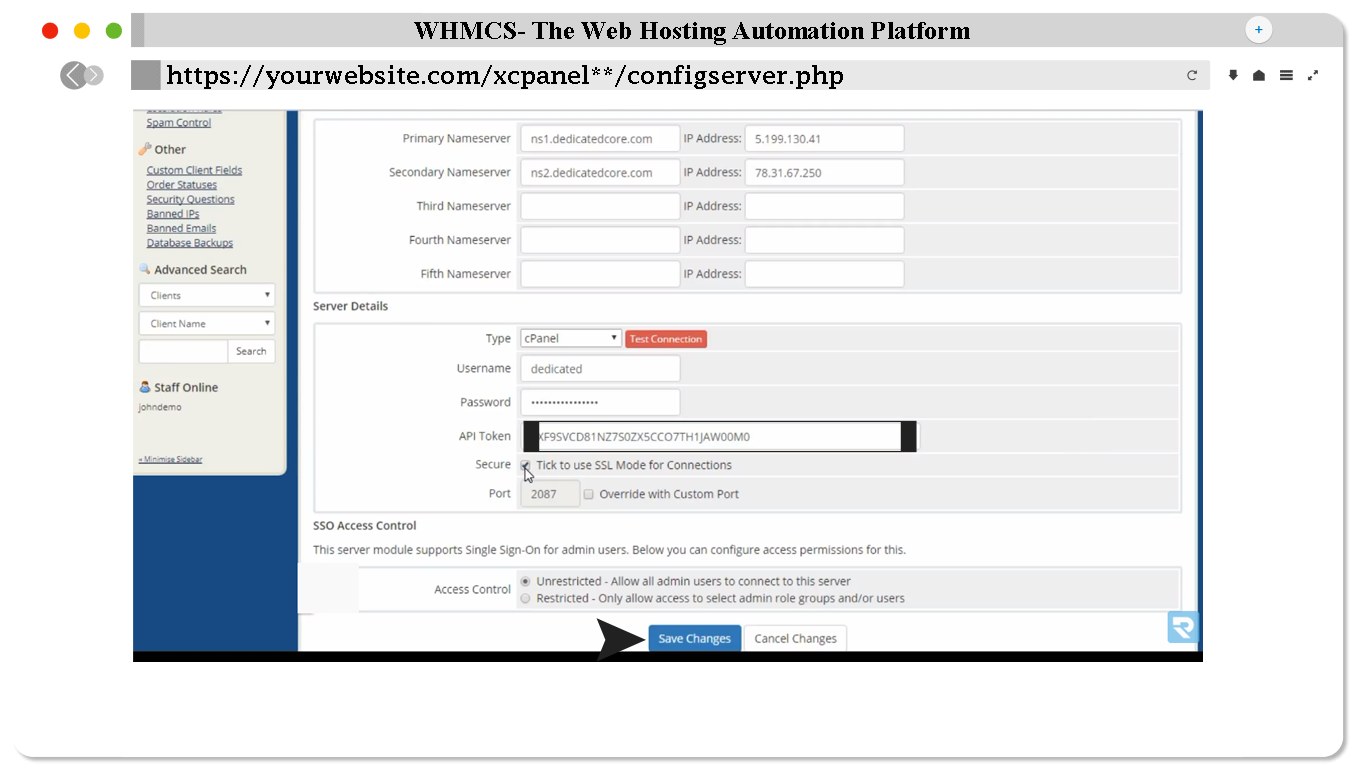 How to add a WHM server on WHMCS? | TOSHOST LTD