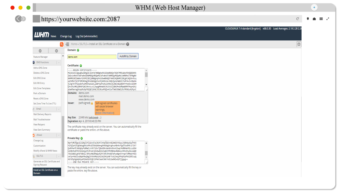 How To Install Ssl In The Domain Through Whm Reseller Part 6